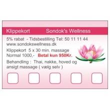 Klippekort - 5 x 30 min. massage normal 1,000Kr. Betal kun 950kr. Spar 5% Rabat ( En halv time / betal forud )