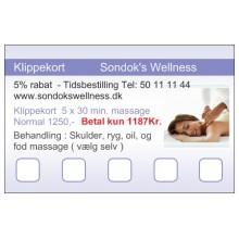 Klippekort - 5 x 30 min. massage normal 1,250Kr. Betal kun 1,187kr. Spar 5% Rabat ( En halv time  / betal forud )