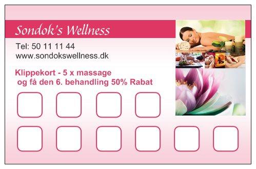 Klippekort 5 x massage og få den 6. behandling 50% rabat